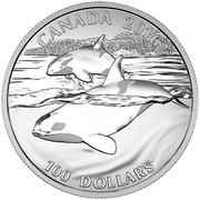 Canada 100 Dollars Orca Whale 2016 Matte Proof KM# 2236 CANADA 2016 100 DOLLARS coin reverse
