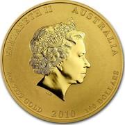 Australia 100 Dollars Year of the Tiger - Colored 2010 P MS-BU ELIZABETH II AUSTRALIA 1 OZ 9999 GOLD 2010 100 DOLLARS IRB coin obverse