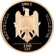 Moldova 100 Lei Ion Creanga 2012 Proof REPUBLICA 2012 MOLDOVA 100 LEI coin obverse