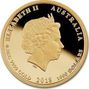 Australia 1000 Dollars Multi-Million Dollar Discovery 2018 P Proof ELIZABETH II AUSTRALIA 0.2KG 9999 GOLD 2018 1000 DOLLARS IRB coin obverse