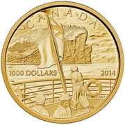 Canada 1000 Dollars The Declaration of the First World War 2014 Proof KM# 1721 CANADA 1000 DOLLARS 2014 coin reverse