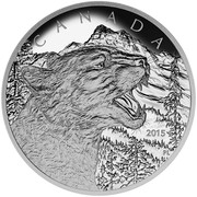 Canada 125 Dollars Call of the Wild - Growling Cougar 2015 Proof KM# 2048 CANADA 2015 coin reverse