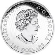 Canada 125 Dollars Roaring Grizzly Bear 2016 Proof KM# 2240 ELIZABETH II D ∙ G ∙ REGINA 125 DOLLARS coin obverse