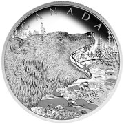 Canada 125 Dollars Roaring Grizzly Bear 2016 Proof KM# 2240 CANADA 2016 coin reverse