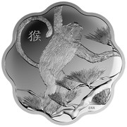 Canada 15 Dollars Year of the Monkey Scalloped 2016 Proof KM# 2158 猴 coin reverse