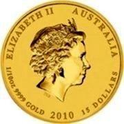 Australia 15 Dollars Year of the Tiger (Colored) 2010 P ELIZABETH II AUSTRALIA 1/10 OZ 9999 GOLD 2010 15 DOLLARS IRB coin obverse