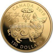 Canada 150 Dollars (Year of the Pig)  coin reverse