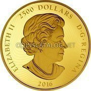 Canada 2,500 Dollars The Arms of Canada 2016 Proof ELIZABETH II 2500 DOLLARS D•G•REGINA 2016 coin obverse