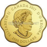 Canada 2500 Dollars Year of the Rooster 2017 ELIZABETH II CANADA 2017 D • G • REGINA 2500 DOLLARS SB coin obverse