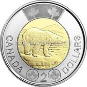 Canada 2 Dollars (150th Anniversary of Canadian Confederation Polar Bear)  coin reverse