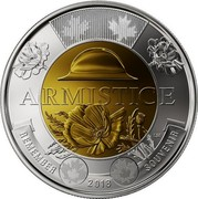 Canada 2 Dollars Centenary of the end of the First War World 2018 ARMISTICE REMEMBER 2018 SOUVENIR LM coin reverse