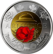 Canada 2 Dollars Centenary of the end of the First World War - Colorized 2018 ARMISTICE REMEMBER 2018 SOUVENIR LM coin reverse