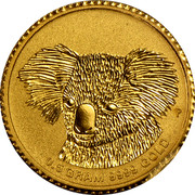 Australia 2 Dollars Gold Mini Koala BU 2014 0.5 GRAM 9999 GOLD P coin reverse