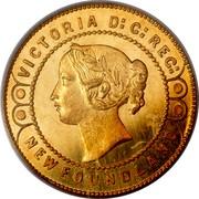 Canada 2 Dollars Victoria Pattern 1865 H KM# Pn15 VICTORIA D: G: REG: NEWFOUNDLAND coin obverse