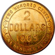 Canada 2 Dollars Victoria Pattern 1865 H KM# Pn15 TWO HUNDRED CENTS 2 DOLLARS 1865 ONE HUNDRED PENCE coin reverse