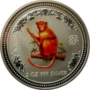 Australia 2 Dollars Year of the Monkey - Colored 2004 MS-BU 2004 2 OZ 999 SILVER SA coin reverse