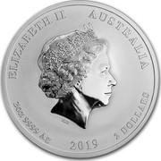 Australia 2 Dollars Year of the Pig 2019 ELIZABETH II AUSTRALIA 2 OZ 9999 AG 2019 2 DOLLARS coin obverse