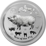 Australia 2 Dollars Year of the Pig 2019 YEAR OF THE PIG coin reverse