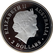 Australia 2 Dollars Year of the Rooster - Colorized 2005 ELIZABETH II AUSTRALIA 2 DOLLARS IRB coin obverse