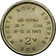 UK 2 ECU Nova Europae 1991 MONETA NOVA EUROPAE AD USUM XI C.I.N. 8-12 IX 1991 2 ECU coin obverse