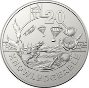 Australia 20 Cents Anzac Spirit - Knowledgeable 2018 UNC in Coincard 20 KNOWLEDGEABLE coin reverse