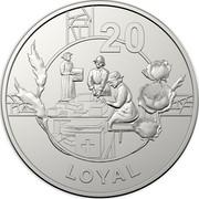 Australia 20 Cents Anzac Spirit - Loyal 2018 UNC in Coincard 20 LOYAL coin reverse