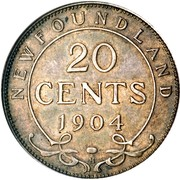 Canada 20 Cents (Edward VII) KM# 10 NEWFOUNDLAND 20 CENTS 1904 coin reverse