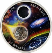 Canada 20 Dollars 150th Anniversary of The Royal Astronomical Society of Canada 2018 Proof CANADA 1868-2018 20 DOLLARS AL coin reverse