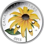 Canada 20 Dollars Black-Eyed Susan with Crystal Dew Drop 2015 Proof CANADA ∙ 20 DOLLARS LK 2015 coin reverse