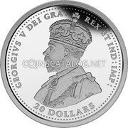 Canada 20 Dollars The Canadian Home Front: Canada's First Submarines During the First World War 2015 Proof GEORGIVS V DEI GRA: REX ET IND: IMP B.M. 20 DOLLARS coin obverse