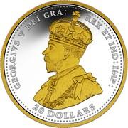 Canada 20 Dollars First World War Battlefront Series - Armistice Of Compiègne 2018 Proof with 24-Karat Gold-Plating GEORGIVS V DEI GRA: REX ET IND:IMP: 20 DOLLARS B.M. coin obverse