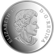 Canada 20 Dollars Geometry in Art The Loon 2016 Proof KM# 2185 ELIZABETH II D∙G∙REGINA coin obverse