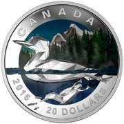 Canada 20 Dollars Geometry in Art The Loon 2016 Proof KM# 2185 CANADA 2016 20 DOLLARS coin reverse