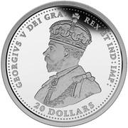 Canada 20 Dollars Royal Aircraft Factory S.E.5A 2016 Proof GEORGIVS V DEI GRA : REX ET IND : IMP : B.M. 20 DOLLARS coin obverse