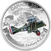 Canada 20 Dollars Royal Aircraft Factory S.E.5A 2016 Proof CANADA 2016 DO ROYAL AIRCRAFT FACTORY S.E.5A coin reverse