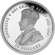 Canada 20 Dollars The Canadian Home Front - Canada's First Submarines During the First World War 2015 Proof KM# 2021 GEORGIVS V DEI GRA: REX ET IND: IMP B.M. 20 DOLLARS coin obverse