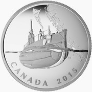 Canada 20 Dollars The Canadian Home Front - Canada's First Submarines During the First World War 2015 Proof KM# 2021 CANADA 2015 coin reverse