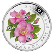 Canada 20 Dollars Wild Rose 2011 Proof KM# 1145 20 DOLLARS MB CANADA 2011 coin reverse
