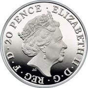 UK 20 Pence Britannia 2018 Proof 20 PENCE • ELIZABETH II • D • G • REG • F • D J.C coin obverse