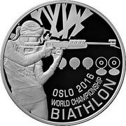 Belarus 20 Roubles Oslo 2016 World Championship Biathlon 2016 Proof KM# 554 OSLO 2016, WORLD CHAMPIONSHIP, BIATHLON coin reverse