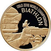 Belarus 20 Roubles World Biathlon Championships in 2016 Oslo 2016 Proof KM# 555 OSLO 2016, WORLD CHAMPIONSHIP, BIATHLON coin reverse