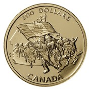 Canada 200 Dollars Canada's Flag Silver Jubilee 1990 Proof KM# 178 200 DOLLARS CANADA coin reverse
