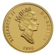 Canada 200 Dollars Canadian Pacific Railway - Transcontinental Landscape 1996 Proof KM# 275 ELIZABETH II D ∙ G ∙ REGINA 1996 coin obverse