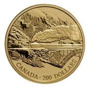 Canada 200 Dollars Canadian Pacific Railway - Transcontinental Landscape 1996 Proof KM# 275 SD CANADA ∙ 200 DOLLARS coin reverse