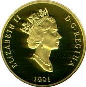 Canada 200 Dollars Hockey - a National Passion 1991 Proof KM# 202 ELIZABETH II D∙G∙REGINA 1991 coin obverse