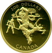 Canada 200 Dollars Hockey - a National Passion 1991 Proof KM# 202 200 DOLLARS SS CANADA coin reverse