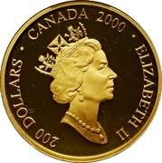 Canada 200 Dollars Mother and Child 2000 Proof KM# 403 200 DOLLARS ∙ CANADA 2000 ∙ ELIZABETH II coin obverse
