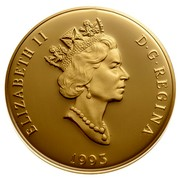 Canada 200 Dollars Royal Canadian Mounted Police 1993 Proof KM# 244 ELIZABETH II D ∙ G ∙ REGINA 1990 coin obverse