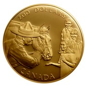 Canada 200 Dollars Royal Canadian Mounted Police 1993 Proof KM# 244 200 DOLLARS CANADA coin reverse