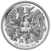 Canada 200 Dollars Towering Forests of Canada 2014 Matte Proof KM# 1741 CANADA 200 DOLLARS 2014 coin reverse
